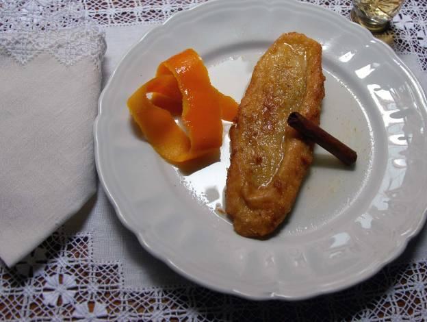 Torrijas con almíbar de naranja